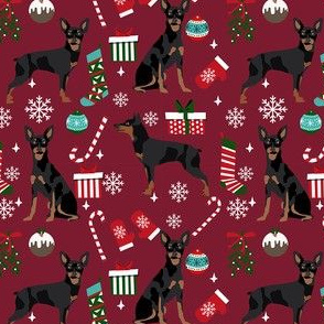 Miniature Doberman Pinscher dog breed fabric christmas stockings pet lovers holiday ruby