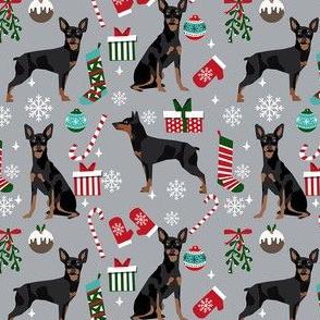 Miniature Doberman Pinscher dog breed fabric christmas stockings pet lovers holiday grey
