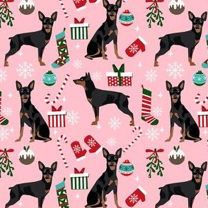 Miniature Doberman Pinscher dog breed fabric christmas stockings pet lovers holiday pink