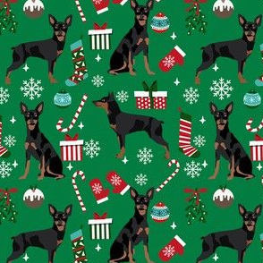 Miniature Doberman Pinscher dog breed fabric christmas stockings pet lovers holiday green