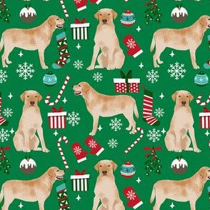 Labrador Retrievers yellow coat dog breed fabric christmas stockings pet lovers holiday green