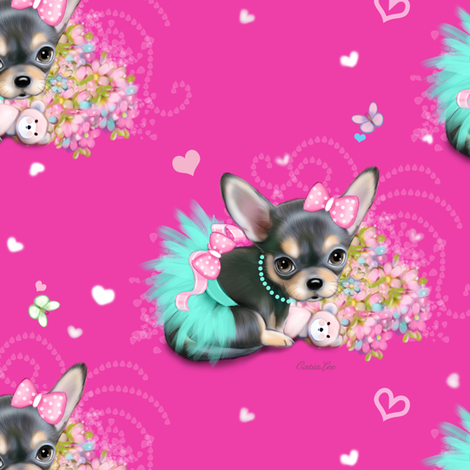 Chichi_sweetie_hot_pink_M fabric by catialee on Spoonflower - custom fabric