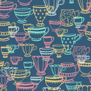 Teacup Scatter in mint, yellow, and pink on blue
