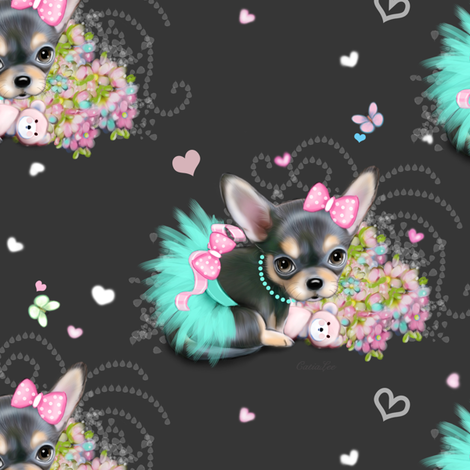 Chichi_sweetie_grey_M fabric by catialee on Spoonflower - custom fabric