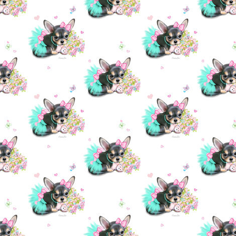 Chichi_sweetie_white_S fabric by catialee on Spoonflower - custom fabric