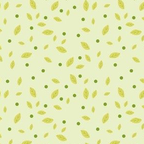 Leaves and dots on green