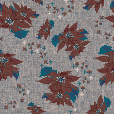 Poinsettias brown fabric by susiprint on Spoonflower - custom fabric