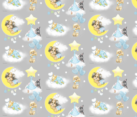 Puppies in the clouds  M fabric by catialee on Spoonflower - custom fabric
