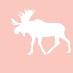 "9"" moose quilt block on pink"