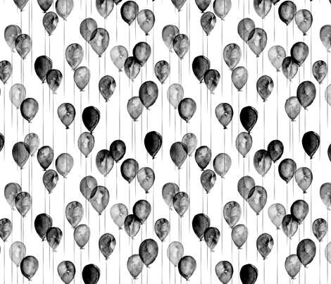 (small scale) balloons - monochrome watercolor fabric by littlearrowdesign on Spoonflower - custom fabric