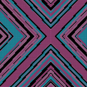 turquoise black and Pink Geomtric