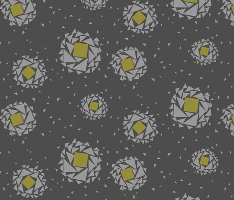 fragmented blossoms in charcoal gray fabric by crystalgates on Spoonflower - custom fabric