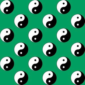 One Inch Black and White Yin Yang Symbols on Shamrock Green
