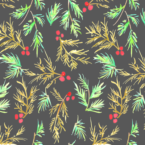 berries and branches in coal fabric by erinanne on Spoonflower - custom fabric