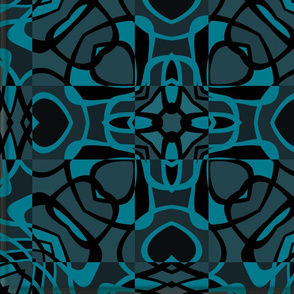 Teal and Black hearts and flower