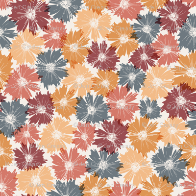 Fall Flowers in Orange & Maroon