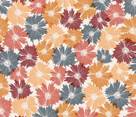 Fall Flowers in Orange & Maroon fabric by juniperr on Spoonflower - custom fabric