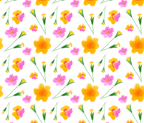 Flowers Yellow and Pink fabric by lesrubadesigns on Spoonflower - custom fabric