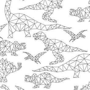 Geometric Dinosaurs - black and white