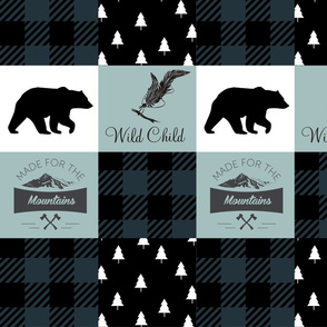 Mint and spruce mountain wholecloth