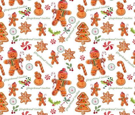 Gingerbread Cookies fabric by floramoon_designs on Spoonflower - custom fabric