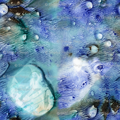 Watercolor Monotype - BlueGreen Fractals