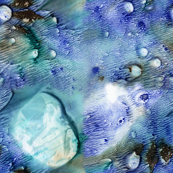 Watercolor Monotype - BlueGreen Fractals