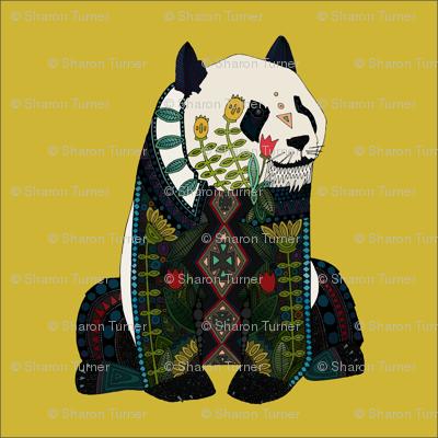 panda ochre 18 inch pillow panel