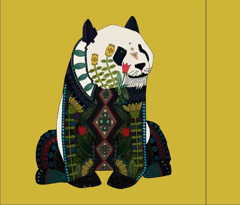 panda ochre 18 inch pillow panel fabric by scrummy on Spoonflower - custom fabric