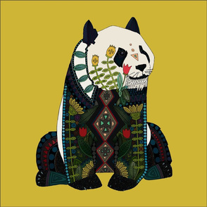 panda ochre 18 inch pillow panel