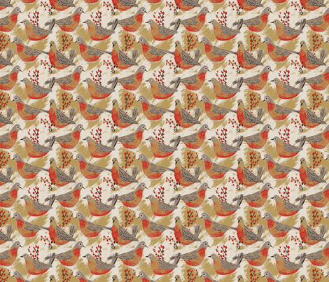 Birds & Berries fabric - allierunnion - Spoonflower