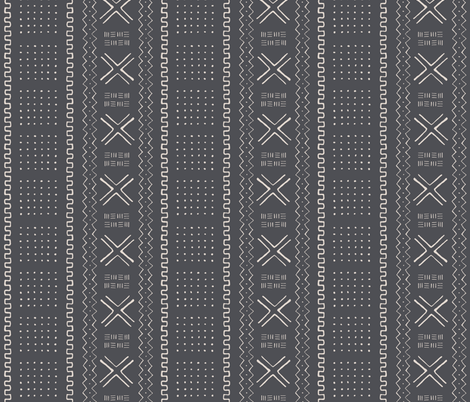 Mudcloth Inspired Tribal Print 4 Black Fabric By Shi Designs On Spoonflower