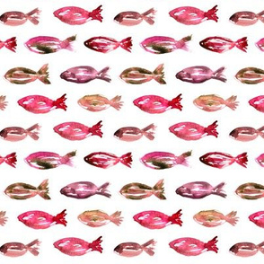 Watercolor pink sardines