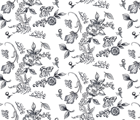 Flowers Bees All Year fabric by baxtergraham on Spoonflower - custom fabric