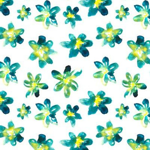 Hand drawn green floral pattern
