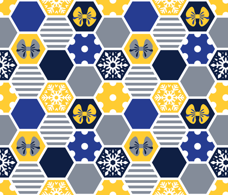 winter hexagons fabric by marta_strausa on Spoonflower - custom fabric