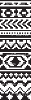 Black and White Aztec Pixel Pattern
