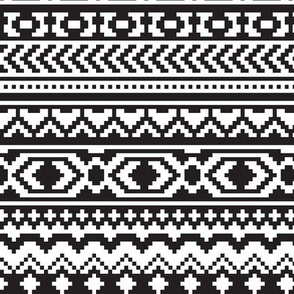 Black and White Aztec Pixel Pattern
