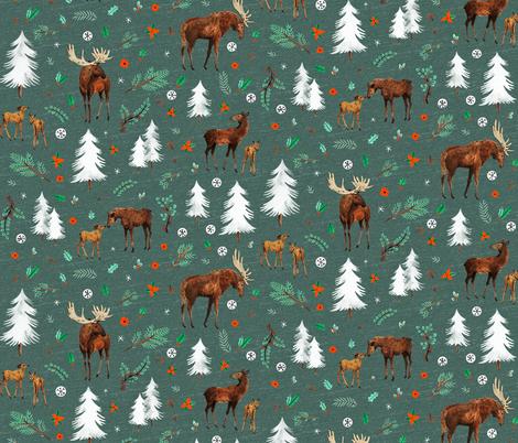 Alpine Moose in green fabric by wildship on Spoonflower - custom fabric