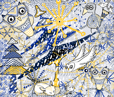 Winter Mod Limited Color Palette, large scale, blue yellow gray white