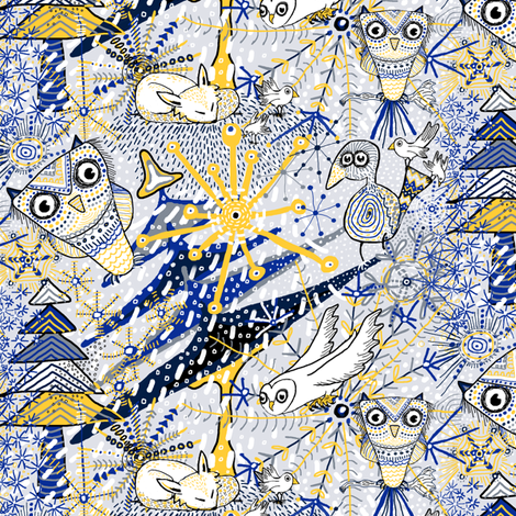 Winter Mod Limited Color Palette, large scale, blue yellow gray white fabric by amy_g on Spoonflower - custom fabric