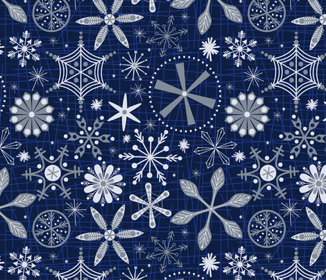 MOD SNOWFLAKES fabric by artfully_minded on Spoonflower - custom fabric