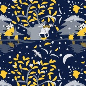 Once In A Blue Moon - Winter Mod Limited  Color Palette, Sunglow, Deer, Antler, Racoon,  Platinum