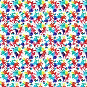 (micro scale) autism awareness watercolor splatter fabric w/ puzzle piece
