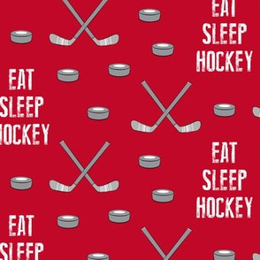 eat sleep hockey - red
