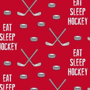 eat sleep hockey - red