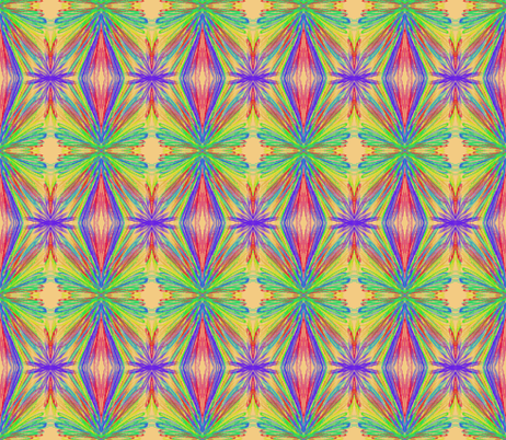 Vibrant Tropical Colours on Frosted Apricot  fabric by rhondadesigns on Spoonflower - custom fabric