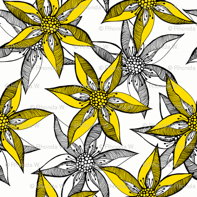 Love Blooms in Sunshine (#8) - Daffodil Yellow on Icy Cream with Black - Large Scale