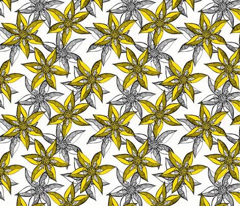 Love Blooms in Sunshine (#8) - Daffodil Yellow on Icy Cream with Black - Large Scale fabric by rhondadesigns on Spoonflower - custom fabric