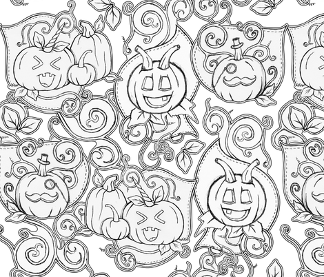 Misfit Pumpkin Patch fabric by xoxotique on Spoonflower - custom fabric